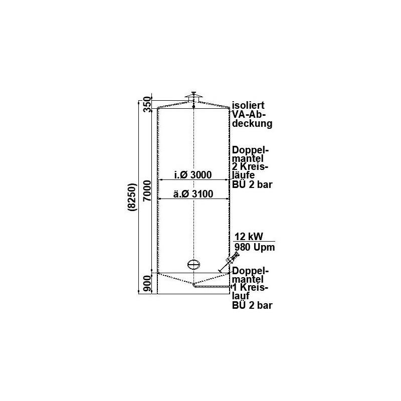 0018 Edelstahlbehälter, isoliert, Doppelmantel, 50 cbm