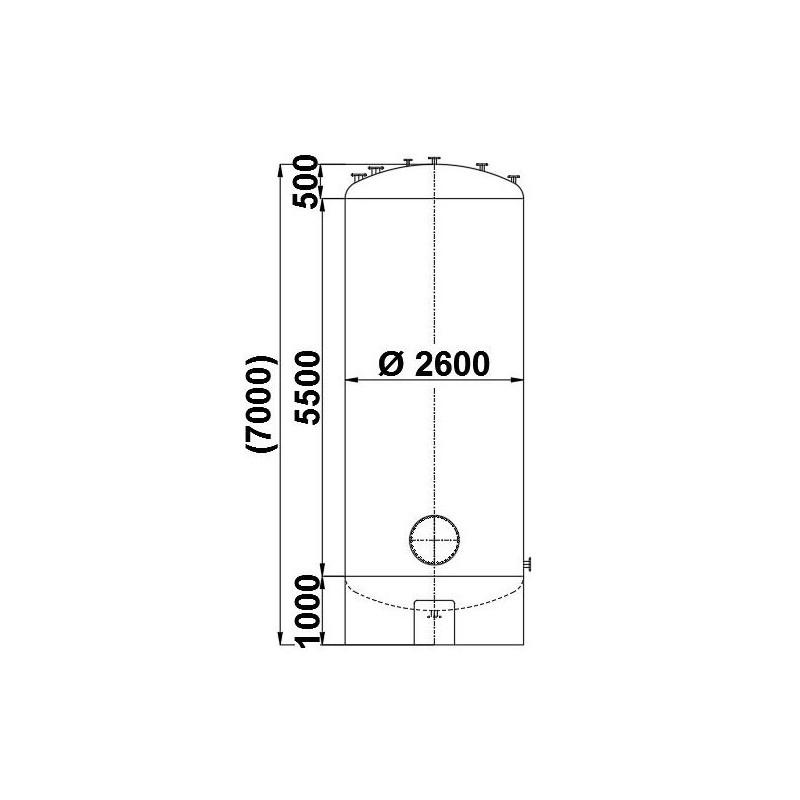 0029 Druckbehälter aus Edelstahl, 33 cbm