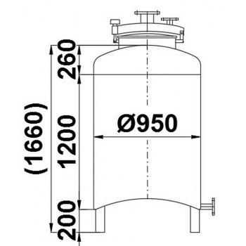 Edelstahlbehälter, 0,9 cbm