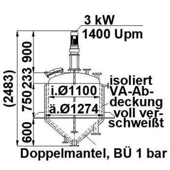 Rührwerksbehälter, 0,9 cbm,...