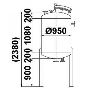Edelstahlbehälter, 0,95 cbm