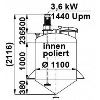 Rührwerksbehälter, 1,1 cbm