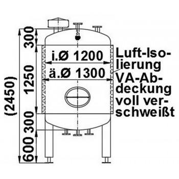 Edelstahlbehälter, 1,5 cbm,...