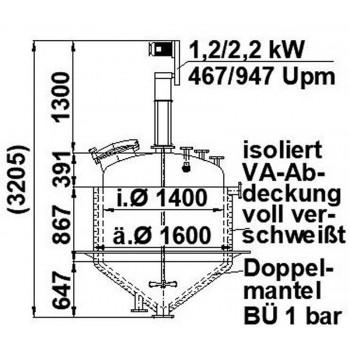 Rührwerksbehälter, 1,6 cbm,...