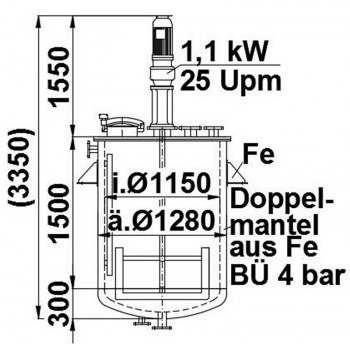 Rührwerksbehälter, 1,8 cbm