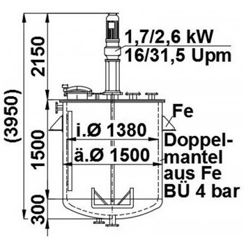 Rührwerksbehälter, 2,56 cbm