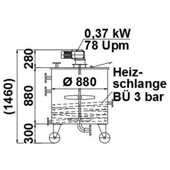 Rührwerksbehälter, 0,5 cbm