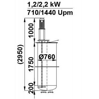 Rührwerksbehälter, 0,8 cbm