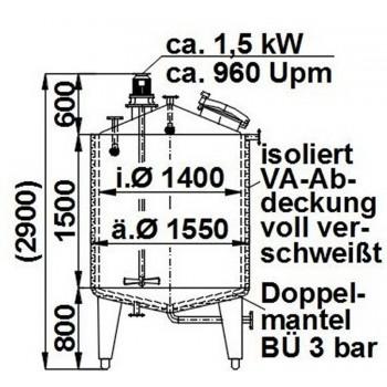 Rührwerksbehälter, 2,58 cbm