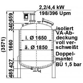 Edelstahlbehälter, 3,5 cbm,...
