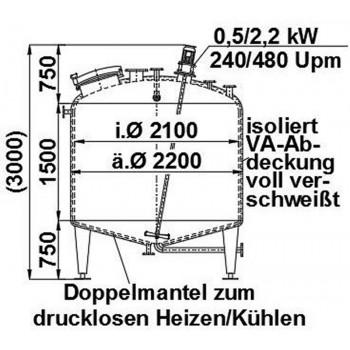 Edelstahlbehälter, 5,5 cbm,...